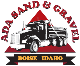 Ada Sand and Gravel Logo, with Pyramid background and dump truck in the foreground